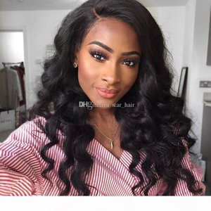 Glueless Full Lace Human Hair Wigs With Baby Hair Body Wave Brazilian Remy Hair Body Wave With Bleach Knots