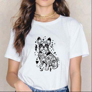 Tattoo French Bulldog animal print t shirt women funny vintage shirts dog mom gift tee shirt femme streetwear woman clothes