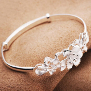 New Rose Flower Women Bangle 925 Sterling Silver Wedding Bracelet Charms carter jewelry Rose Bangles ps2972