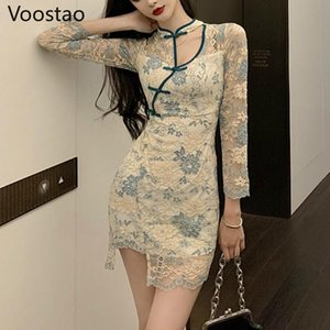 Chinese Style Dress For Women Elegant Vintage Lace Floral Cheongsam Slim Dress Chic Girly Sexy Bodycon Irregular Mini Dresses