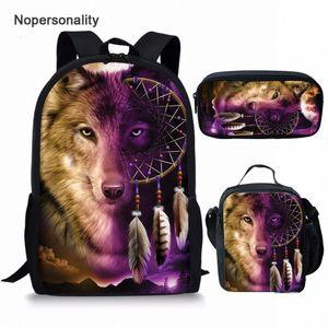 Nopersonalidade Impressão 3D animal lobo mochila para escola meninos meninas frescas crianças júnior primária crianças saco de escola crianças bagpacks backp j8QK #