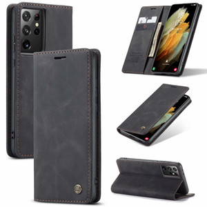 Caseme Retro Matte PU Leather Stand Flip Wallet Case For Samsung Galaxy S21 Ultra S20 Ultra Note 10 S10 Plus S9 A71 A50