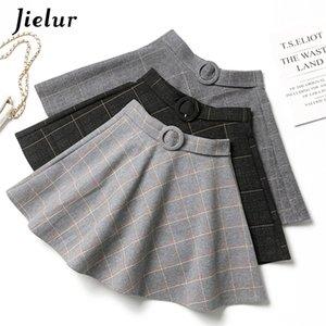Juezur plaid mujeres falda invierno delgado negro saia faldas nueva chic mini a-line falda alta wiast cremallera faldas para mujer otoño s-xxl 210310