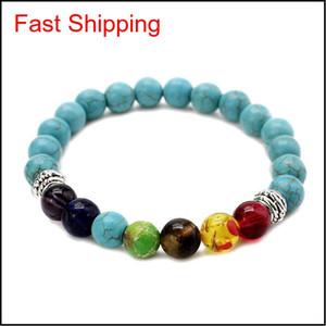 Natural Stone Tiger Eye 7 Chakra Bracelets & Bangles Yoga Balance Beads Buddha Prayer Elastic Bracelet Men W jllEDT bdesybag