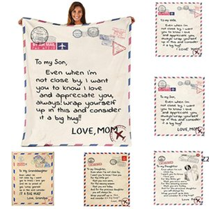 Flannel Envelope BlanketLetter 3DPrinted Envelopes Love Warm Quilts Mother Father To Daughter Son Wife Wrap Family SEAWAY HWF10298 Blanket