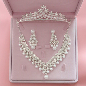Fashion Bridal Wedding Jewelry Sets Women Pearls Crown and Tiaras Drop Earrings And Necklace Sets Girls Wedding Accessories Brithday Party