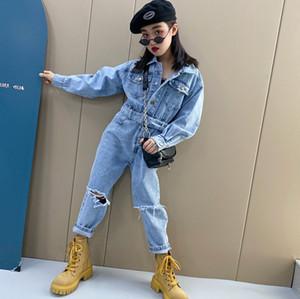 Fashion Girls denim jumpsuits 2021 new children lapel cowboy elastic Waist jumpsuit kids hole cowboy overall A5972