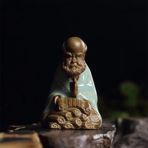Celadon hielo grieta té mascota chino púrpura arcilla esmaltado buddhism kung fu dharma ornamentos conjunto de té accesorios decoración del hogar