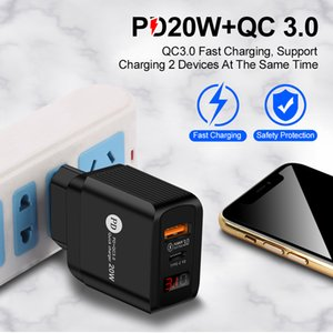 LED Display Type-C Type C 20W PD and QC 3.0 Fast Wall Phone Charger with US EU UK Plug for Pro X 11 12 Xiaomin Huawei Mobile Cellphone Adapter MQ50