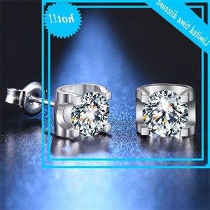 BoeyCJR 925 Silver 0.5 / 1 / 2CT D Color Moissanite VVS Joyería fina Diamond Stud Pendiente con certificado nacional para mujeres veneno
