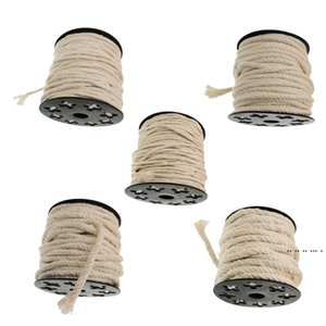 60 50 25 20 15m Pure Cotton Rope Braided Twisted Cord Twine Sash for DIY Craft Home Wedding Party Decors White EWB5315