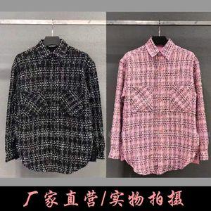 21 spring women designer sweater shirts New style Plaid loose Yang Mi same shirt coat ins fashionable men's and women's love coat