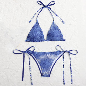 Sexy Bikini Womens Maillots de bain Summer Maillots de bain à deux pièces Lettre de broderie Culture de bain 3 couleurs Asiatique Taille S-XL