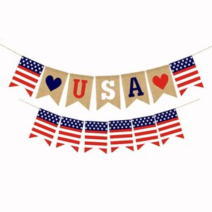 USA Swallowtail Banners Independence Day String Flags USA Letters Bunting Banners 4th of July Party Decoration WWA123
