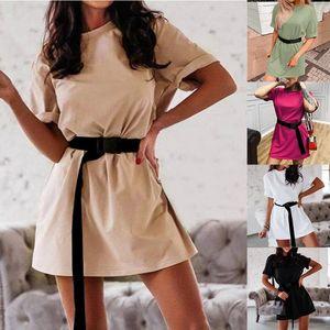 Yaz kadın elbise moda gevşek t-shirt kemer ile katı renk ev sporları t-shirt elbise kadınlar için bayanlar 2021 yeni