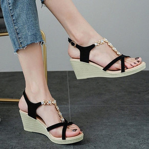 Womens Open Toe Sandals 2020 Summer Breathable Wedges Shoes Thick Bottom Bohemia Style Shoes Roman Sandals Buty Damskie #g4 B59t#