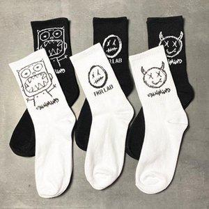 Men's Socks Japanese Cotton Cartoon Pattern Hip Hop Style Breathable Mid Tube Skateboard 1Pair Soft Long Sock For Men
