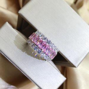 Cluster Rings Vintage Solid 925 стерлингового серебра 925 розовый розовый создал моисанит драгоценные камни роскошные свадебные алмазные украшения для украшения оптом
