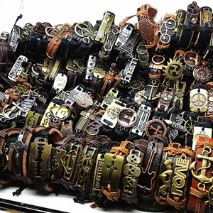 Band New Vintage Leather Mens Womens Surfer Bracelet Cuff Wristband 50pcs lots Mixed Style Retro Jewelry Charm Bracelet 93 T2