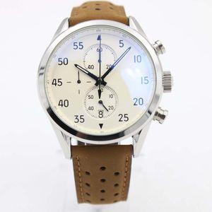 Klasik Saatler Yeni Kahverengi Spacex Chrono Varış Kalibrelik Kemer Beyaz Gent VK Chronograph Deri İzle Erkek Spor Tarzı Saatı