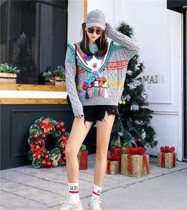 Europäer Station Herbst und Winter Neue Thai Mode Marke Farbe Fringe Gläsern Pullover Pullover Lose Pullover