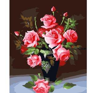 숫자에 의한 그림 DIY 사진 꽃 꽃병 숫자에 의해 색칠 캔버스 홈 장식 그림 거실 아트 아이 선물