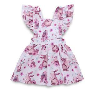Baby Girl Dresses Easter Rabbit Toddler Dress Flying Sleeve Floral Girls Dress Designer Children Clothes Fashion Baby Clothing DW5135