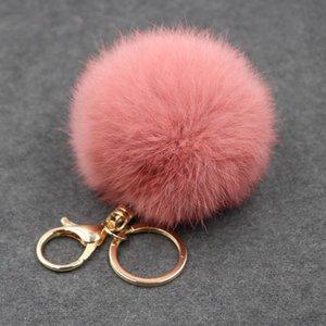 Gold Key Chain Pom Pom Key Rings Fake Rabbit Fur Ball KeyChain Pompom Angel Girl Fourrure Pompon Women Bag Charms Jewelry