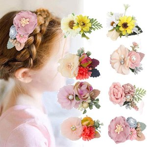 Baby Headbands Pearl Girls Headband 3Inch Flower Princess Head Bands BB Clip Barrettes Girls Hair Clips Kids Hair Accessories B4130
