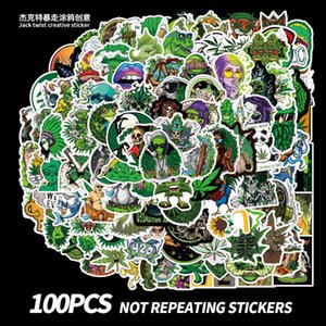 100 Pieces of Weed Leaf Spoof Character Graffiti Stickers Personalized Motorcycle Trunk Waterproof