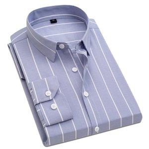Autumn New Korea Fashion Mens Shirts Casual Button Down Slim Fit Red White Blue Black Social Striped Shirt 4XL 5XL