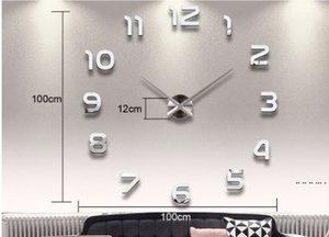 Ev Dekorasyon Büyük Numarası Ayna Duvar Saati Modern Tasarım Büyük Duvar Saati 3D İzle Duvar Benzersiz Hediyeler EWB5336