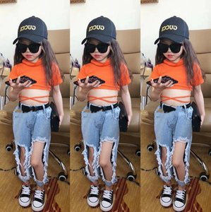 SK New INS Summer Spring Kids Girls Jeans Denim Trousers Streetwears Girls Fashions Casual Denim Pants Trousers Children Clothes
