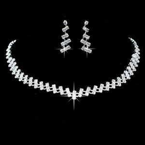 Hot Classic Bridal Jewelry Alloy Diamond Simple Earrings Necklace Set