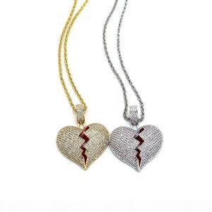 hip hop broken heart pendant necklace diamonds pendants golden silver Twist chain jewelry Sweater chain accessories 2018 new free shipping