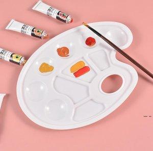Pintura de arte da paleta de cor de bandeja de desenho de plástico para pálete de pálete de pintura branca de óleo 10 projetos de poços com furo de polegar DHF5661
