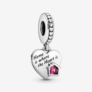 Nouvelle Arrivée 100% 925 Sterling Silver Love My Home Coeur Dangle Charm Fit Original Européen Charm Bracelet Bracelet Mode Bijoux Accessoires