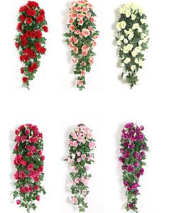 Fiore artificiale Rattan Flower Flower Flower Decoration Decorazione Parete appeso rose domestiche Decor Accessori Decorativi di nozze Fiori decorativi Corona di fiori LLS637