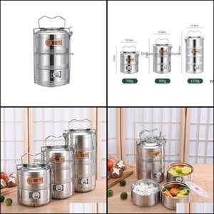 Boxes Kitchen Storage Housekee Organization Home & Gardenlarge 2 3 4 Layer Stainless Steel Thermos Lunch Portable Thermal Insation Food Cont