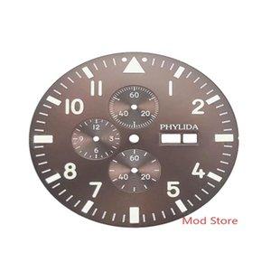 Repair Tools & Kits FULL LUMINOUS 37.7mm Brown Black 's Chronograph Watch Dial Copper Set For Miyota Cal.0S00 Movement FULLY LUMED 12 H