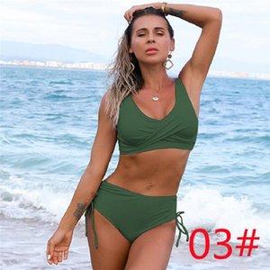 04 One-Piece Suits Amazon swimsuit European and American bikini female sexy high waist pure color Beach equipment