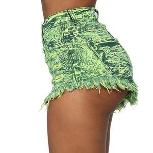 StreamGirl Denim Shorts Women's Multicolor Short Jeans Pierna ancha Vintage Cintura Alta Cintura Pantalones cortos de verano