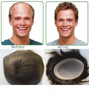 """Erkek Peruk İnsan Saç 7 """"X9"""" 6 """"X8"""" 8 """"X10"""" Erkekler için Erkekler Saç Sistemleri Yedek Mono Toupee"""