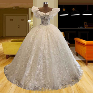 Princess Wedding Dresses A Line Full Lace Appliqued Ruffles Sleeves Vestidos De Novia Custom Made Dubai Arabic Bridal Gowns Robe de mariée