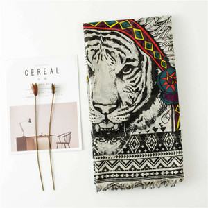 domineering Indian feather tiger head neck shawl long hair Cotton linen silk scarf women's beach towel