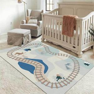 2021 Nordische Cartoon Verkehr Straßenlaterne Farbe Teppich Kinderzimmer Nachttischmatte Baby Zimmer Bereich Teppich Schlafzimmer für Jungen Kinder Spielmatte