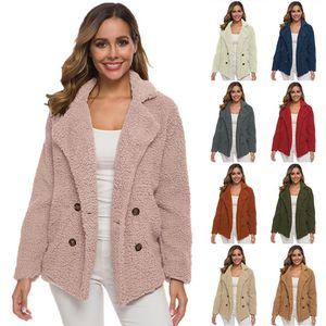 Women's Hoodies & Sweatshirts Winter Jacket Women Long Sleeve Plus Velvet Thick Double-breasted Lamb Fur Coat Female Sweatshirt
