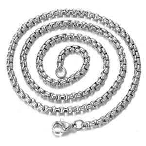 Fashion Width 2 2.5 3 3.5 4 5mm Stainless Steel Square Pearl Chain Figaro Necklace Jewelry For Men Women Findings Wholes