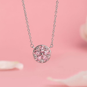 HBP fashion Poetry style Korean Cherry Blossom Necklace simple clavicle chain short Pendant