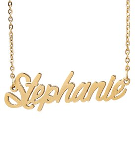 """Personalized custom 18K Gold Plated Stainless Steel Script Name necklace """" Stephanie """" Charm Nameplate Necklace Jewelry gift NL-2430"""
